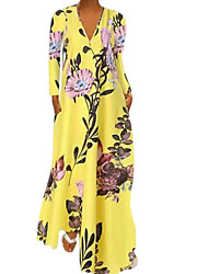 cheap -Women's A-Line Dress Maxi long Dress - Long Sleeve Solid Color Patchwork Print Summer V Neck Elegant Hot Loose 2020 White Blue Yellow S M L XL XXL 3XL 4XL 5XL