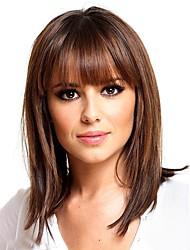 cheap -Human Hair Blend Wig Medium Length Natural Straight With Bangs Brown Women Adorable New Arrival Capless Women's Dark Auburn#33