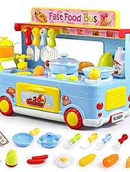 cheap -kitchen playset 29 pieces cooking toys, analog stoves and pans pot utensils pretend play food bus set for kids preschool and toddlers (blue)