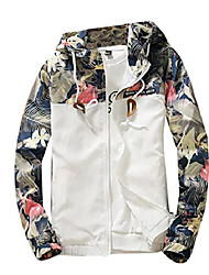 cheap -mens floral long sleeve hooded windbreaker jacket white us l