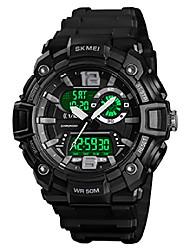 cheap -men's sport watch dual dial waterproof digital analog 24h military outdoor electronic led back light display alarm stopwat (black)