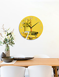 cheap -Number 7 Disc Acrylic Mirror Clock Home Decoration Mirror Sticker Living Room Bedroom Silent Wall Clock