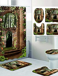 cheap -Fresh Garden Pattern PrintingBathroom Shower Curtain Leisure Toilet Four-Piece Design