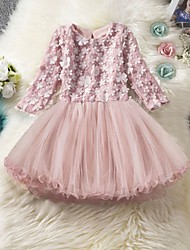 cheap -Kids Girls' Cute Solid Colored Lace 3/4 Length Sleeve Knee-length Dress Blushing Pink