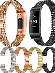 cheap -For Fitbit Charge 4 Band Stainless Steel Watch Band For Fitbit Charge 3 Watch Strap Metal Watch Strap Wrist Watches Bracelet
