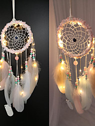 cheap -Led Boho Dream Catcher Handmade Gift Wall Hanging Decor Art Ornament Craft Cloud Flower Bead 57*15cm for Kids Bedroom Wedding Festival