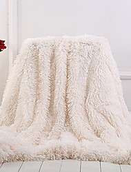 """cheap -plush super soft blanket bedding sofa cover furry fuzzy fur warm throw qulit cozy couch blanket for winter & #40;63""""x79"""", beige& #41;"""