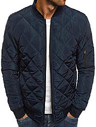 cheap -mens quilted bomber jackets rib diamond lightweight fall winter chunky flight padded coat outwear