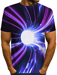 cheap -Men's Graphic Optical Illusion T shirt 3D Print Print Short Sleeve Daily Tops Basic Exaggerated Round Neck Purple