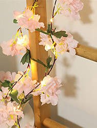 cheap -1X 2M 20LEDs Artificial Pink Cherry Blossoms Flower LED Fairy String Lights AA Battery Powered For Wedding Xmas New Year Party Home Decor Garland Warm White Lighting (Come Without Battery)