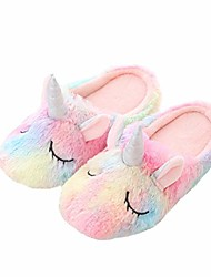 cheap -womens girls cartoon novelty unicorn slippers indoor foam home slippers shoes multicoloured size 8 to 9
