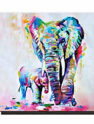 cheap -animal canvas wall art,  elephant framed oil painting modern wall art for living room bedroom office bathroom, stretched ready to hang wall decoration (16x16inch)