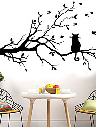 cheap -Animals Wall Stickers The Cat on The Branch Wall Stickers Decorative Wall Stickers PVC Home Decoration Wall Decal Wall / Window Decoration 1pc