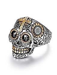 cheap -hip hop sugar rings jewelry,stainless steel day of the dead mens biker gothic skull beer cross black vintage promise wedding engagement ring for men size 9