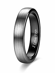 cheap -4mm thin tungsten carbide rings for women men engraved i love you wedding band brushed black comfort fit size 6