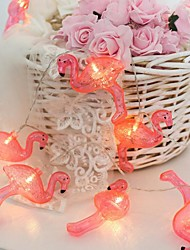 cheap -LED Battery Light Pink Flamingo Lamp String 1 set
