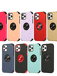 cheap -Phone Case For Apple Back Cover iPhone 12 Pro Max 11 SE 2020 X XR XS Max 8 7 Shockproof Ring Holder Solid Color TPU PC