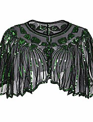 cheap -women's 1920s shawl beaded sequin deco evening cape bolero flapper cover up tops(green,freesize)