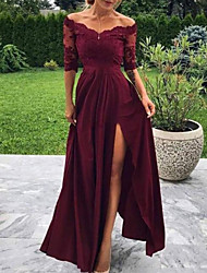 cheap -A-Line Minimalist Sexy Wedding Guest Formal Evening Dress Off Shoulder Half Sleeve Floor Length Charmeuse with Pleats Split Appliques 2021