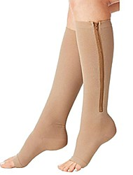 cheap -compression socks toe open leg support stocking knee high socks with zipper