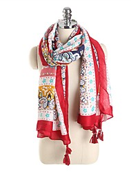 cheap -Women's Tassel / Active Rectangle Scarf - Floral Washable