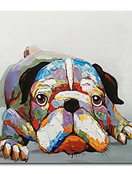 "cheap -hand painted animal oil painting on canvas of cute dog modern wall art cool bulldog abstract funny artwork home kid's room decor framed ready to hang 24"" wx24 h"