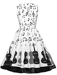 cheap -Women's Swing Dress Knee Length Dress - Sleeveless Print Patchwork Zipper Summer Plus Size Vintage Cotton 2020 White L XL XXL 3XL 4XL 5XL