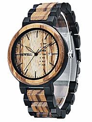 cheap -bewell mens watch wood handmade date&week display retro quartz movement ebony and zebra wooden watches