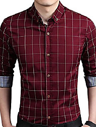 cheap -men's 100% cotton long sleeve plaid slim fit button down dress shirt us 2xl wine red