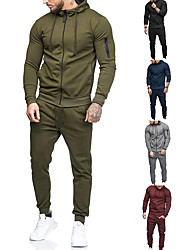 cheap -Men's 2-Piece Full Zip Tracksuit Sweatsuit Jogging Suit Long Sleeve Winter Cotton Thermal Warm Breathable Quick Dry Fitness Gym Workout Running Active Training Bodybuilding Sportswear Solid Colored