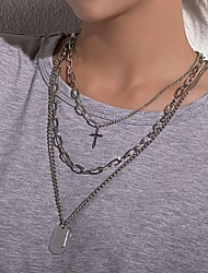 cheap -Women's Pendant Necklace Necklace Retro Cross Classic Punk Trendy Fashion Alloy Silver 67 cm Necklace Jewelry 3pcs For Street Gift Birthday Party Beach Festival / Long Necklace