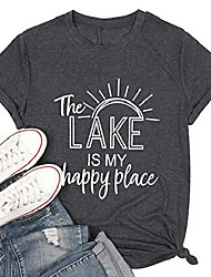 cheap -the lake is my happy place shirt womens lake life t-shirt short sleeve summer casual tee top dark grey