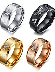 cheap -4 color set 8mm women's men's blue stainless steel the legend of zelda triforce ring,size 10