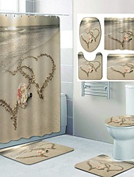 cheap -Beach Love Pattern PrintingBathroom Shower Curtain Leisure Toilet Four-Piece Design