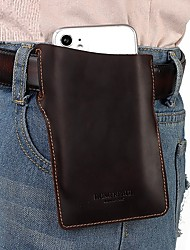 cheap -Men's Bags Nappa Leather Cowhide Mobile Phone Bag 2020 Daily Bronze Khaki