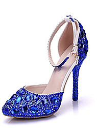 cheap -womens ankle strap rhinestones crystals blue wedding evening pumps shoes us 8.5
