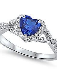 cheap -sterling silver heart halo simulated gemstone promise ring all colors available (5, blue (simulated sapphire))