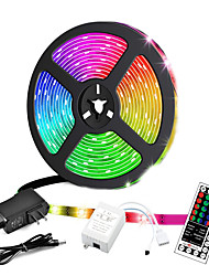 cheap -5M Led LED Light Strips RGB Tiktok Lights Not-waterproof 24W 2835 8mm 44Key IR Controller Kit with Male DC connector Line