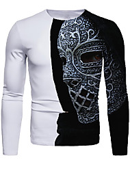 cheap -Men's 3D Graphic T-shirt Long Sleeve Daily Tops Basic Round Neck Black / White White Blue