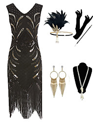 cheap -The Great Gatsby Vintage 1920s Vacation Dress Flapper Dress Outfits Masquerade Women's Tassel Fringe Costume Golden / Black Vintage Cosplay Party Prom / Gloves / Headwear / Necklace / Earrings