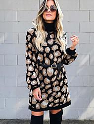 cheap -Women's Sweater Jumper Dress Short Mini Dress - Long Sleeve Leopard Patchwork Winter Elegant Loose 2020 Black S M L XL