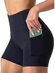 رخيصةأون -شورت يوجا للسيدات بخصر عالٍ وسروال يوجا للتحكم في البطن مع جيوب& # 40 ؛ صغير ، أزرق داكن& # 41 ؛