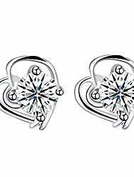 cheap -women cute cz small stud earrings,s925 sterling sliver heart crystal cubic zirconia rhinestones studs earrings