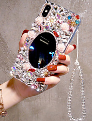 cheap -Phone Case For Apple Back Cover iPhone 12 Pro Max 11 SE 2020 X XR XS Max 8 7 6 Rhinestone Mirror Geometric Pattern Flower / Floral Acrylic