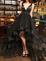 cheap -A-Line Minimalist Sexy Engagement Formal Evening Dress V Neck Sleeveless Asymmetrical Tulle with Ruffles 2020