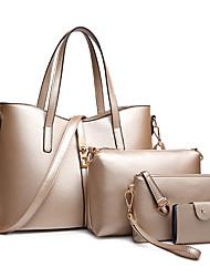 cheap -fashion women's pu leather handbag shoulder bag purse card holder 4pcs set tote (m(332414cm), 03b185-pu-white)