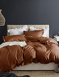 cheap -Coffee 3-Piece Duvet Cover Set Hotel Bedding Sets Comforter Cover with Soft Lightweight Microfiber and Lotus Leaf Edge Decoration(Include 1 Duvet Cover and 1or 2 Pillowcases)