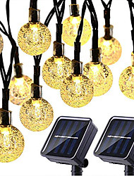 cheap -2PCS Solar String Lights 20 LED 5M Solar Patio Lights with 8 Modes Waterproof Crystal Ball String Lights for Patio Lawn Party Wedding Garden Decorations