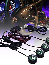 cheap -4 In 1 Voice Control Car LED Atmosphere Lights Colorful RGB Interior Floor Foot Lights Universal Auto USB Decorative Ambient Lamp Car Styling Light Decorative Ambient Lighting