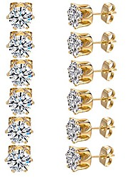 cheap -6 pairs 3mm 18k yellow gold plated round cubic zirconia stud earring pack of 6